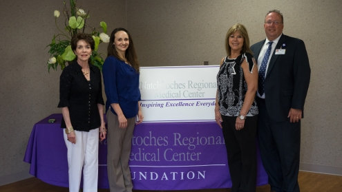 The Women's Resource Center will receive a $2,400.00 grant from the NRMC Foundation, which will be awarded at the Foundation's upcoming Gala, to be held Saturday, May 16 from 7:30 PM – 12 midnight at the Natchitoches Events Center. The grant will go to purchase Safe Sleep Kits to reduce SIDS. Shown L-R: Sharon Gahagan, NRMC Foundation Board; Beverly Broadway, WRC; Cathy Jacobs, NRMC Physician & Community Relations Director; Kirk Soileau, NRMC CEO